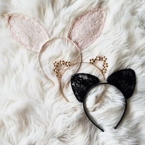 Halloween Forever 21 Cat Bunny Lace Metallic Ears